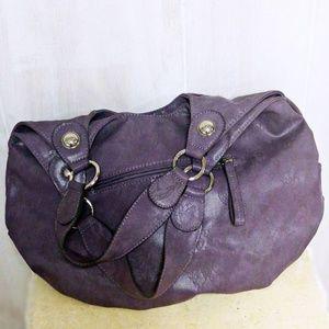 Elle Vegan Leather Vinyl Purple Lace Shoulder Bag